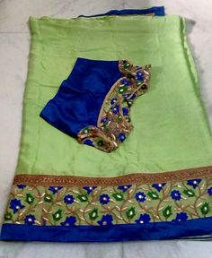 Silk Sarees are must for wedding. Wearing silks on Pelli kuturu ceremony is kind of routine. Try wearing chiffons/georgette with grand blouses and make it memorable. To order this kind Pls WhatsApp on 94929 91857 Saree Blouse Neck Designs, Saree Blouse Patterns, Fancy Blouse Designs, Blouse Models, Saree Models, Sari, Saree Dress, Jute, Simple Sarees