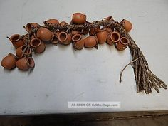 Southwest Mini Clay Hanging Pots Ristra Mexican Folk Art Pottery Mexico photo