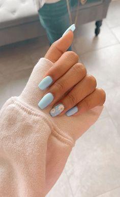 91 simple short acrylic summer nails designs for 2019 page 13 Nageldesign Nail Art Nagellack Nail Polish Nailart Nails Simple Acrylic Nails, Blue Acrylic Nails, Acrylic Nail Designs For Summer, Acrylic Nails Pastel, Acrylic Nails Coffin Short, Acrylic Nails Designs Short, Pastel Blue Nails, Colorful Nails, Blue Nail Designs