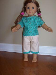 American Girl doll Aqua Capri set by GiGisDollCreations on Etsy, $12.00