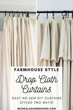 Easy, inexpensive, no sew, DIY farmhouse drop cloth curtains styled 2 different ways! Dekor diy DIY Farmhouse Style Drop Cloth Curtains- 2 Ways Vintage Farmhouse, Farmhouse Design, Farmhouse Ideas, Rustic Design, Farmhouse Remodel, City Farmhouse, Country Farmhouse, Country Kitchen, Rustic Style