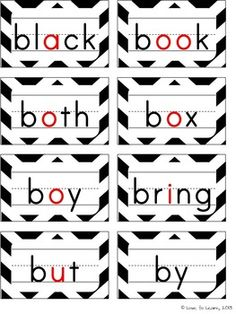 Black & Chevron Word Wall - Headers with color pictures and words with primary dotted lines to show proper letter formation.