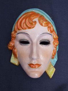 KERAMOS Art Deco Wall Mask signed Podany c1935
