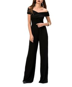 Black Layer Off-Shoulder Jumpsuit, elegant dressy jumpsuit,