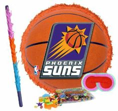 "Phoenix Suns Basketball - Pinata Party Pack Including Pinata, Pinata Candy and Toy Filler, Buster and Blindfold by Pinata. $42.05. Phoenix Suns Basketball - Pinata measures approximately 17"" in diameter and 3"" deep. Includes approximately 2 pounds of Candy and Toys. Caution: not recommended for children under 3 years of age. Includes one hard Plastic Pinata Buster that measures approximately 30"". Caution: use only under adult supervision. Includes one Blindfold with Elastic..."