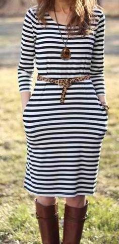 Striped dress/leopard belt.