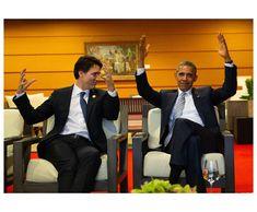 Justin Trudeau and Barack Obama All Presidents, Greatest Presidents, American Presidents, Barrack And Michelle, Michelle Obama, El Pres, Barack Obama Family, Black Families, Justin Trudeau