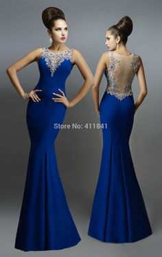 Evening Dresses, Royal Blue Mermaid Evening Dress 2015 Crew Beaded Pivot Backless bridesmaids dress