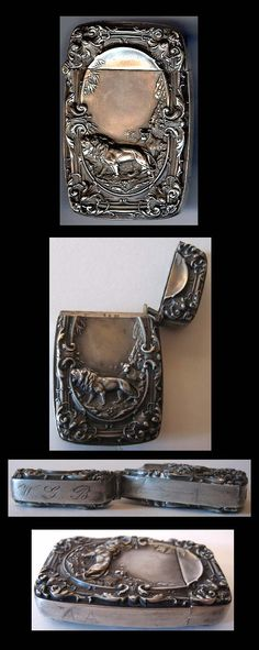 ART NOUVEAU VINTAGE STERLING SILVER LION COUPLE MATCH SAFE