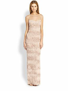 ABS - Sheer-Yoke Scalloped Plissé Gown - Saks.com $380 This one is backless