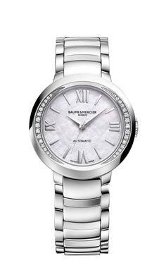 Discover and buy the Promesse 10184 steel watch for women, with its white mother-of-pearl & diamond-set dial, designed by Baume & Mercier, Manufacturer of Swiss Watches.