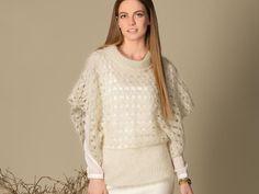 Пуловер с рукавами-«пончо» - схема вязания крючком. Вяжем Пуловеры на Verena.ru