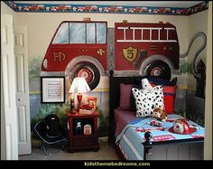 Beispiel f r ein tolles Feuerwehr Kinderzimmer   Wandgestaltung  Feuerwehrauto   Theme BedroomsThemed RoomsTo  This fireman themed bedroom is a hit with the children of  . Fireman Sam Bedroom Ideas. Home Design Ideas