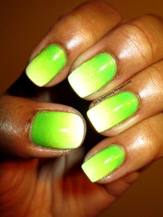 nail style, green yellow and white solar nails- great for Oregon duck football!