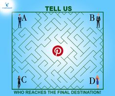Tell us with having four people A, B, C, and D, in a hurry to post something on Pinterest, who amongst the four will be the first one to achieve their target?  Send us your answer by taking a screenshot and DM us to win exciting rewards!  #quiz #puzzle #quiztime #dailyquiz #quizalert #webdevelopment #webdeveloper #DigitalMarketing #SocialMedia #SocialMediaMarketing #marketingstrategy #pinterest Social Media Marketing, Digital Marketing, The Final Destination, Take A Screenshot, Web Development, Target, Puzzle, Puzzles, Riddles
