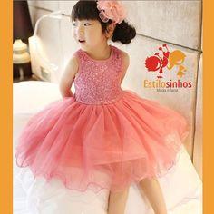 Vestido Infantil De Festa Com Tutu E Brilho