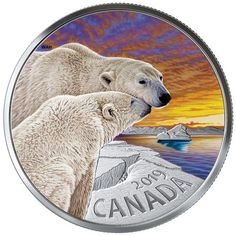 Pure Silver Coloured Coin - The Polar Bear: Canadian Fauna - Mintage: