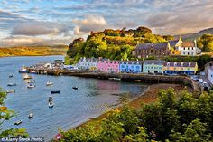 The famous postcard view of Portree before sunset at Isle of Skye in Scotland, which was named the top place to live in the country by voters on property website Rightmove