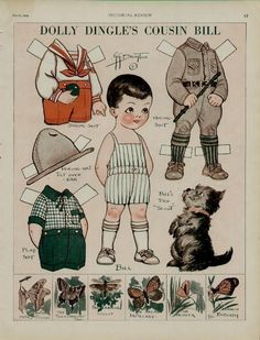 1929 DOLLY DINGLE'S COUSIN BILL PAPER DOLL PAGE / ARTISTS: G.G. DRAYTON