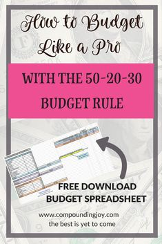 How to Budget Like a Pro with the the 50-20-30 rule - Download your interactive budget spreadsheet by clicking the link - Compounding Joy Budgeting Worksheets, Budgeting Finances, Budgeting Tips, Planning Budget, Budget Planner, Financial Planning, Menu Planning, Ways To Save Money, Money Saving Tips