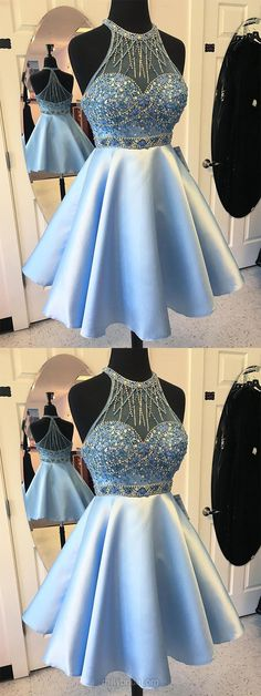 Blue Prom Dresses Short, 2018 Prom Dresses For Teens, A-line Prom Dresses Scoop Neck, Satin Tulle Prom Dresses Beading Modest