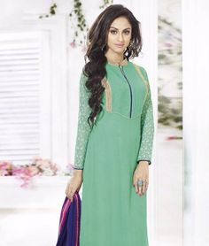 Add sheen to your ethnic wear collection with some of the most delightful and supreme quality suits. Crafted with great detailing and intricate work, this collection screams for itself. Its time to grab the best and flaunt it in style! BRAND: ScheleneCATEGORY: Unstitched Suit with DupattaARTICLECOLOURMATERIALLENGTHTopGreen Faux Georgette2.50 metersBottomBlueShantoon2.50 metersDupattaBlueChiffon2.25 metersWe would always want to send you what we showcase but there might be a slight variation…
