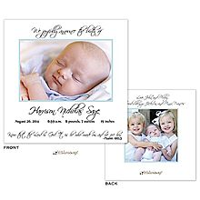 Sibling Baby Birth Announcement with blue border and 2 photos for a new baby boy