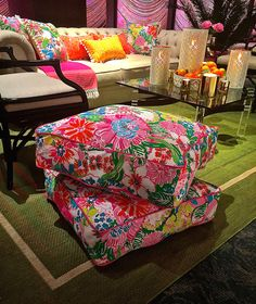 Not afraid of color here! These are too cute... Pom Pom fringe pillows.