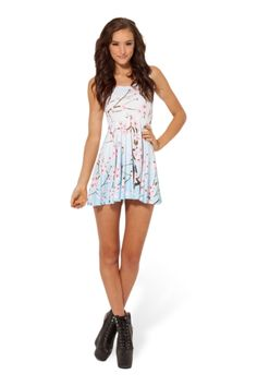Cherry Blossom Blue Reversible Skater Dress Small