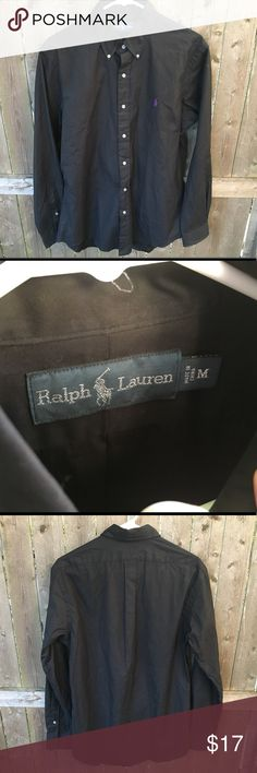 Ralph Lauren Black Long Sleeve Button Up Ralph Lauren Black Long Sleeve Button Up Dress Shirt   Size medium (refer to measurements)  Good condition!  Pit to pit: 22inches  Neck to bottom: 31 inches  Sleeve Length: 26 inches  All measurements are taken with the item laying flat! If you have any questions please message me thanks!  Check out my other listings! Ralph Lauren Shirts Dress Shirts