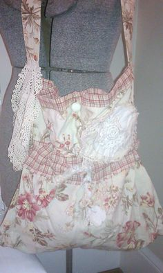 Plaid And Floral Girly Bag by shabbychatue on Etsy, $40.00