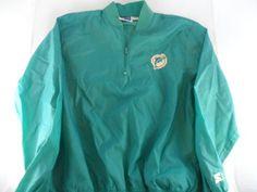 Miami-Dolphins-1980s-Starter-Windbreaker-Pullover-Jacket-Large-Vintage-EUC