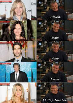 Joey describing his friends in 1 word.look at Jennifer Aniston's♥️ Serie Friends, Friends Cast, Friends Episodes, Friends Moments, I Love My Friends, Friends Tv Show, Friends Forever, Friends Actors, Chandler Friends