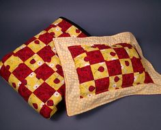 LADYBUG SPLENDOR Red & Yellow Doll Quilt with by kre8ivLizard