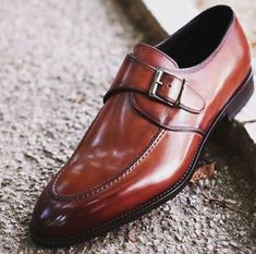 Handmade men Brown dress shoes Mens leather monk shoes Mens formal shoes  Gents Shoes 9a386065978f