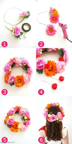 DIY Pretty & Easy Flower Crowns - learn to craft these fashion accessories for your Cinco de Mayo celebrations, weddings or Mother's Day party! Hawaiian Flower Crown, Diy Flower Crown, Diy Crown, Floral Crown, Diy Flowers, Flower Crowns, Flower Headbands, Baby Headbands, Fabric Flowers