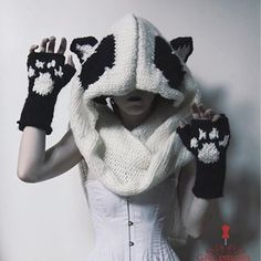 Panda obsession in full fruition, panda snood paw print gloves and corset all patterned and made by moi.    #panda #panda🐼 #paw #pawprints #pawsitive #pandahat #pandastyle #pandapaws #pandaears #madeforme #knitting #knittwear #knittedscarf #knittedgloves #knitstagram #knittersofinstagram #knittingaddict #fingerlessgloves #gloves #snood #earhat #catears #nekoears #neko #corset #corsettop #corsetmaker #costumedesign #costumephotography #GaleCostumes