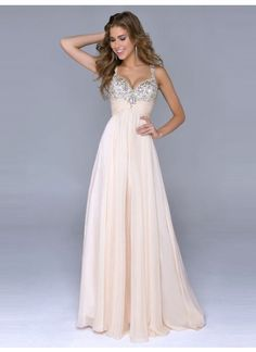 A-line Sleeveless Chiffon Prom Dresses/Evening Dresses With Rhinestone #DQ002