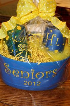 Graduation Gift Basket or change for occasion.wrap and basket idea Personalized Graduation Gifts, Grad Gifts, College Graduation Parties, Grad Parties, Graduation Ideas, Ball Birthday Parties, Senior Gifts, Vinyl Gifts, Creative Gifts