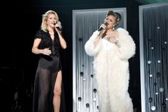Ellie Goulding and Andra Day perform on the 58th Annual GRAMMY Awards on Feb. 15 in Los Angeles
