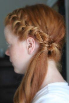 This hairstyle features a lovely french braid along the front of the hairline. Once the braid reaches the left ear all the hair is gathered together with an elastic band. Separating the hair just above the band, the hair is flipped through the hold and pulled back down so it creates this pretty loop. I... Read More »