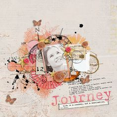 The Journey a Digital Scrapbook kit by Vicki Robinson Designs for digital scrapbooking, mixed media, card making and hybrid projects Love Scrapbook, Mixed Media Scrapbooking, Scrapbook Page Layouts, Scrapbook Paper Crafts, Scrapbook Cards, Scrapbooking Ideas, Scrapbook Cover, Digital Scrapbooking, Layout Design