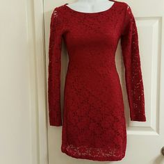 Foreign Exchange Cranberry Lace Dress Really cute lace dress with mid-back cut out.  Size S. Nice to wear for Christmas! Foreign Exchange Dresses