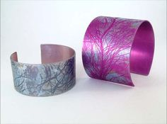 Anodised aluminium bangles by Joanne Cox available at Franny & Filer Jewellery shop in Chorlton - www.frannyandfiler.com - £38 - £45