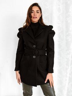 Παλτό Κοντό Με Ζώνη Μαύρο – Negroni Jackets, Coats, Products, Fashion, Down Jackets, Moda, Wraps, Fashion Styles, Coat