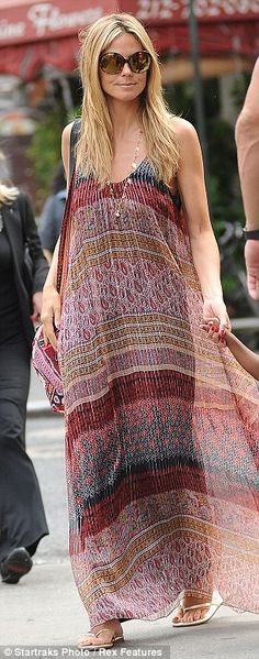 Heidi Klum in a bohemian flowy maxi dress.