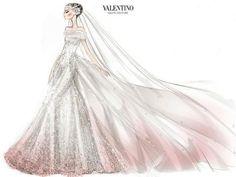 Valentino's sketch for Anne Hathaway's wedding dress