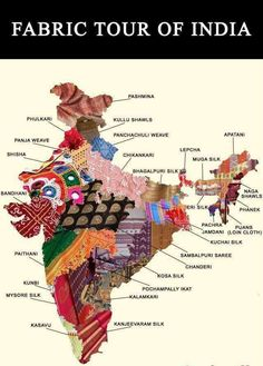 One for the handloom lovers. This map shows the astonishing diversity of textiles from India Indian Textiles, Indian Fabric, Mysore, Voyager C'est Vivre, Pakistan Map, Pakistan News, Sambalpuri Saree, India Map, India India