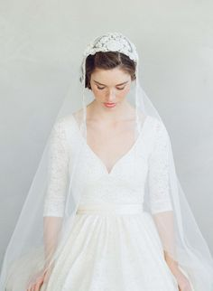 Embroidered and beaded regal juliet cap veil