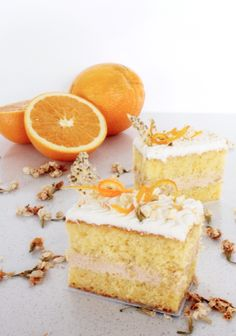 Olive oil orange sponge with jasmine infused chiboust creme, freshly candied orange zest and a #chia seed crisp